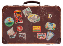 gammal resväska för läder arkivfoto