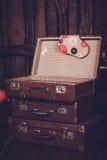 Gammal resväska för tappning tre Fotografering för Bildbyråer