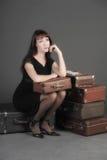 gammal resväskakvinna Fotografering för Bildbyråer