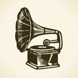 Gammal retro grammofon Royaltyfri Fotografi
