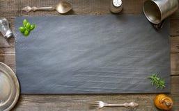 Gammal retro kulinarisk menyabstrakt begreppbakgrund Arkivfoto