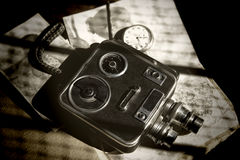 Gammal Retro 8mm videokamera Fotografering för Bildbyråer