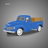Gammal retro pickupvektorillustration Tappningtransportmedel Royaltyfri Bild
