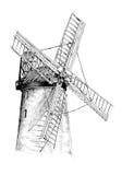 Gammal retro tappningteckning för väderkvarn vektor illustrationer