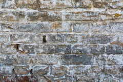 Gammal riden ut tegelstenvägg, textur, bakgrund Royaltyfria Foton