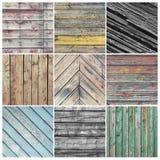 Gammal riden ut wood collage Arkivbild