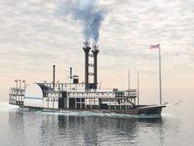 Gammal riverboat - 3D framför Royaltyfria Foton