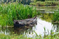 Gammal roddbåt som strandas på en sjö arkivfoto