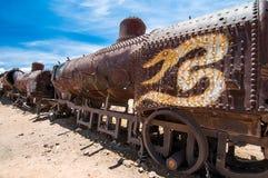 Gammal rostad lokomotiv Arkivfoton