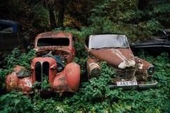Gammal rostad retro bil Opel Kapitan som överges i trän arkivfoton