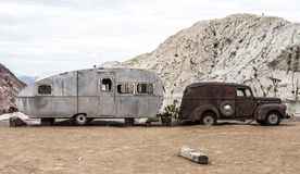 Gammal rostig lastbil i den Nelson Nevada spökstaden Royaltyfri Bild