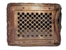 Gammal rostig metallventilationsspisgaller som isoleras på vit royaltyfri fotografi