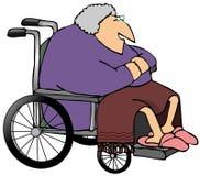 gammal rullstolkvinna Royaltyfri Fotografi