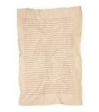 Gammal rynkig brun anteckningsboklinje isolerat papper Arkivbild