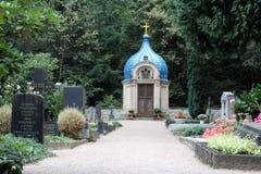 Gammal rysk kyrkogård i Wiesbaden Arkivfoton