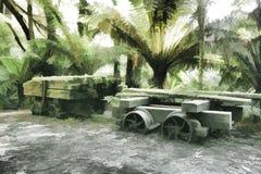 Gammal sågverkvagn Royaltyfri Fotografi