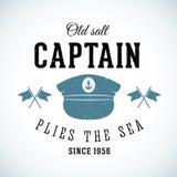 Gammal salt kapten Vintage Marine Vector Logo Fotografering för Bildbyråer
