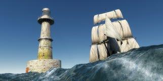 Gammal segelbåt och fyr Royaltyfria Foton