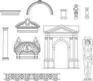 gammal set för arkitektur Arkivfoton