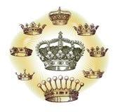 gammal set för krona Arkivfoto