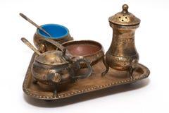 gammal set för bronze bestick Fotografering för Bildbyråer