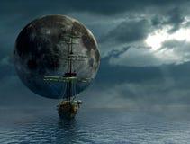 gammal ship för moon royaltyfri illustrationer