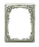 gammal silver för dekorativ ram Arkivbilder
