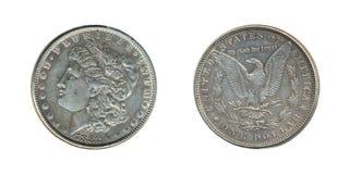 Gammal silverdollar Arkivfoto