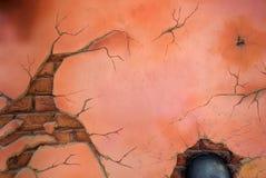 Gammal skadlig tegelstenvägg Royaltyfri Bild