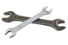 gammal skiftnyckel för skruvnyckel två Arkivbilder