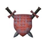 Gammal sköld och två svärd Arkivfoto