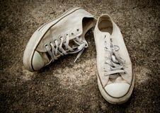 gammal sko för kanfas Arkivbild