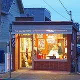 Gammal skola Barber Shop, Petaluma, Kalifornien Royaltyfri Bild