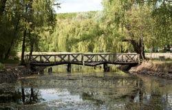 Gammal skranglig träbro i Ungern Royaltyfri Fotografi
