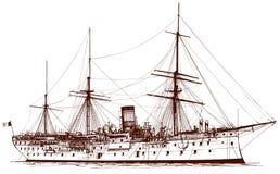 gammal slagskepp royaltyfri illustrationer