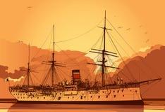 gammal slagskepp vektor illustrationer