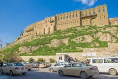 Gammal slott i den Erbil staden, Irak royaltyfri fotografi