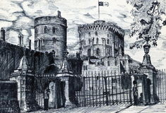 Gammal slott i England Royaltyfri Bild