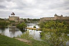Gammal slott i Narva estonia Arkivfoto