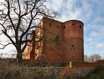 Gammal slott i Swiecie poland Arkivbilder