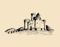 Gammal slottillustration för vektor Gotisk fästning Den drog handen skissar av landskap med tornet bland lantliga fält och kullar Arkivfoton