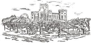 gammal slottteckningshand Royaltyfria Bilder