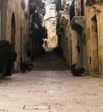 Gammal smal gata och trappa i Vittoriosa Malta fotografering för bildbyråer