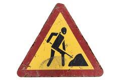 Gammal smutsig rostig skrapad triangulär ` för arbeten för vägmärke`-väg, Royaltyfria Foton