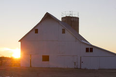 gammal solnedgång för ladugård Royaltyfria Bilder