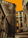 gammal solnedgångtown för bakgrund