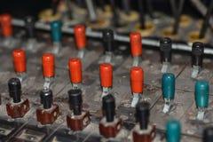 Gammal sovjetisk manuell strömbrytare för telefonen, kalla kriget, närbild royaltyfria bilder