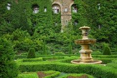 Gammal springbrunn i gräsplanträdgård Royaltyfria Bilder