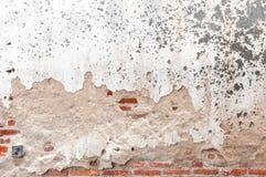 Gammal sprucken konkret bakgrund för tappningtegelstenvägg, texturbakgrund Fotografering för Bildbyråer