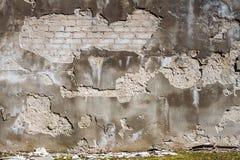 Gammal sprucken murbruk- och tegelstenvägg royaltyfri fotografi